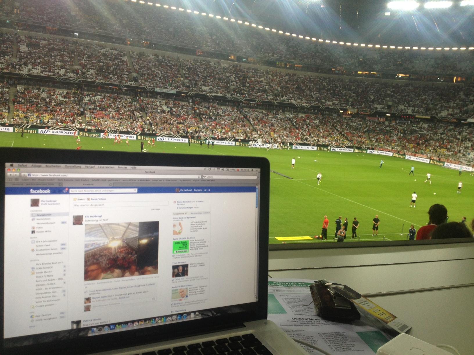 Pressebereich der Österreicher in der Münchner Allianz Arena